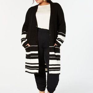 Style & Co Striped Duster Cardigan Black Off White